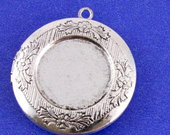 2 pcs- Antiqued Silver Etched Locket, 32mm Sliver Locket, 2 Picture Locket-, Silver Photo Locket AS-B18759-8S