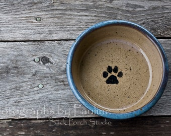 Purple Blue and Tan Speckled Pet Bowl 4 inch Pet Dish with Paw Print