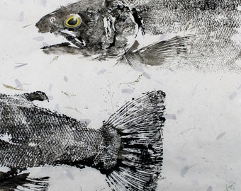 GYOTAKU fish Rubbing Steelhead Trout Head and Tail 8.5 X 11 quality Art Print Cottage Decor Fly Fishing by artist Barry Singer