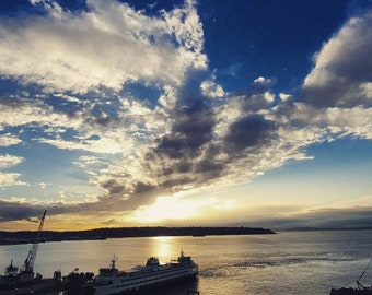 Seattle Ferry & Sunset On Puget Sound