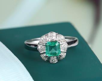 Emerald Engagement Ring Wedding Birthstone Modern Rustic