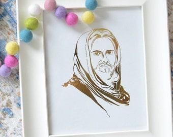Gold Foil Hand Drawn Christ Print (8x10 or 5x7)