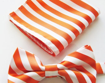 Golden Apricot And Black Stripe Design PreTied Bow Tie
