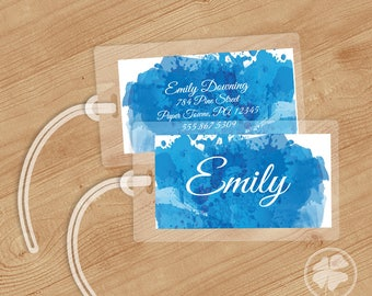 Watercolor - Luggage Tag, Bag Tag, Backpack Tag, ID Tags, Personalized, Custom - Blueberry Slushie