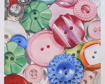 """Antique button collection """"Unattached"""" - Art Watercolor giclee 11x14 print"""