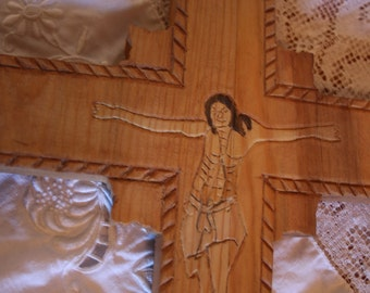Hand Carved Wood Cross Jesus on the Cross Religious Rustic Wood Carving