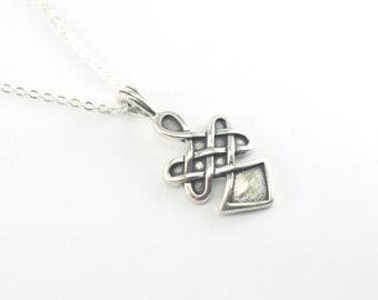 Celtic Knot Warrior Spirit Necklace, Silver Celtic Knot Pendant, Silver Celtic Jewelry, Celtic Knot Necklace, Sterling Silver Charm Necklace