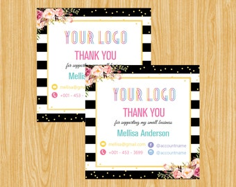Printable  Thank You Stickers, Thank You Sticker, Personalized Custom Sticker Labels LLRSTICKER010