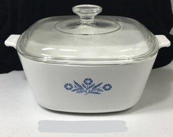 Vintage Blue Corn Flower 2-1/2 Quart Casserole Corningware With Lid