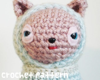 CROCHET PATTERN - Amigurumi Hoodie Bear - PDF Instant Download - Plushie Stuffed Animal