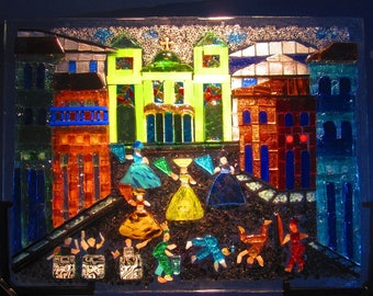 Glass Mosaic Art with bright colors and  2 sides // Carnival in Brazil // Centerpiece // Gift for her // Anniversary Gift