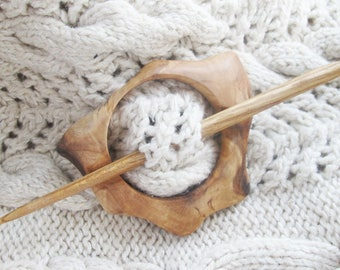 Rustic Wood Shawl Pin, Wooden Shawl Pin, Wood Brooch, Large Hair Clip, Wooden Scarf Pin
