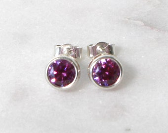 Swarovski Purple Zirconia Sterling Silver Stud Earrings  • Gifts for women • Bridesmaid Earrings • Prom Earrings