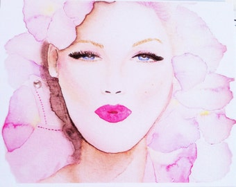 Rose pedal hair girl watercolor fashion illustration flat note card