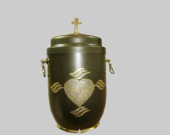 Metal Cremation Urn for Ashes with A Beautiful  Emblem heart