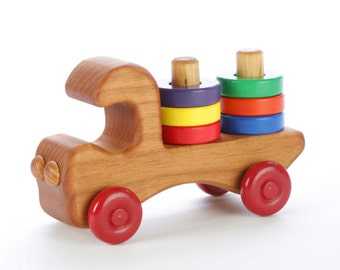 Wooden Toy Truck - Stacking Toy - Toddler Toy - Wood Push Toy