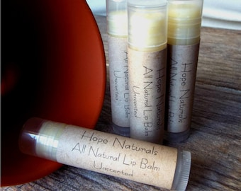 4-Pack All Natural Unscented Lip Balm