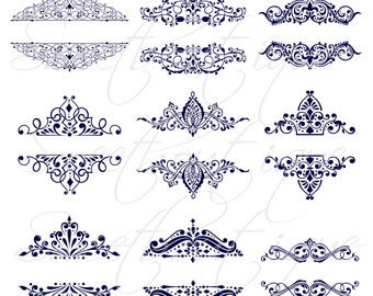 9 Vintage Calligraphy Clip Art Clipart DIY Wedding Invitation Designs Scrapbook Embellishment Text Dividers Digital Frame NAVY BLUE 0440