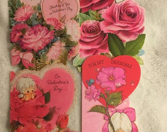 Vintage Used Fancy Valentines, Set of 4 1970s Valentines
