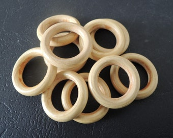 """50Pcs  24mm(1 """") Unfinished Natural Wood  Ring Wooden Circle  (W586)"""