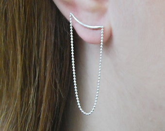 Sterling Silver Curve Chain Earrings-Silver Earrings-Stud Earrings-Dangle Chain Earrings-Edgy Earrings-Earrings under 25-Statement Earrings
