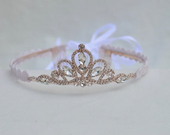 Rose Gold Rhinestone Tiara / Flower Girl Tiara / Rose Gold Princess Tiara / Toddler Tiara / BirthdayTiara /  Pageant / Petite Tiara