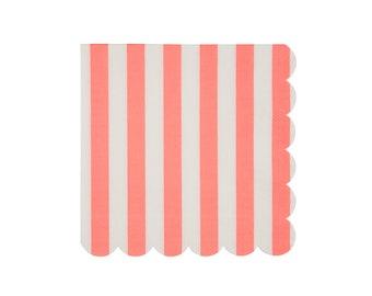 Coral Stripe Napkin, Large, Party Supplies, Meri Meri