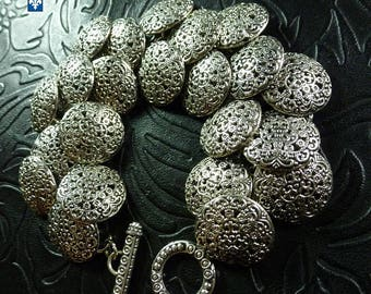 Large Plated Silver Buttons Charms Bracelet