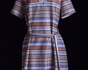"Vintage Dress 1960s Dress Vintage Summer Dress Retro Dress Striped Dress Vintage Day Dress Belted Dress By ""Damon Fashion"""