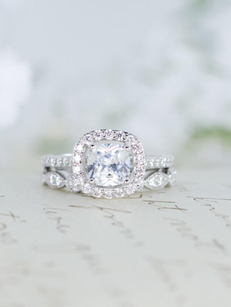 Halo Wedding Set Engagement Ring Wedding Ring Cushion