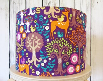 Woodland Purple Lampshade in a Norwegian Woods fabric by Michael Miller