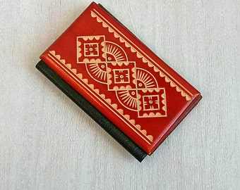Book cover Credit cards holder Vintage tiny wooden cover Small book covers Mini card case Old miniature book Country folk ornament Gift idea
