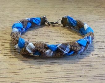 Braided Fabric Bracelet - Plaid/Corduroy/Blue - 1/2  inch width