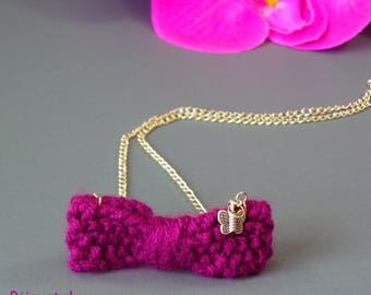 "Fantasy necklace ""Knot knit"" Plum wool, silver plated chain and Butterfly"