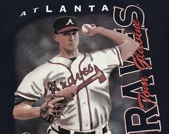 MLB Atlanta Braves Tom Glavin Vintage 1997 Navy Short Sleeve Cotton Graphic T-Shirt XL
