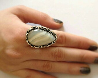 White agate adjustable ring size made in german silver , boho style, ethnic ring,statement ring, Silver plated ,proposal ring-Ring