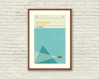 THE LIFE AQUATIC Inspired Poster, Art Print Movie Poster - 12 x 18 Minimalist, Nautical, Triangle, Hollywood Regency, Vintage, Retro Home