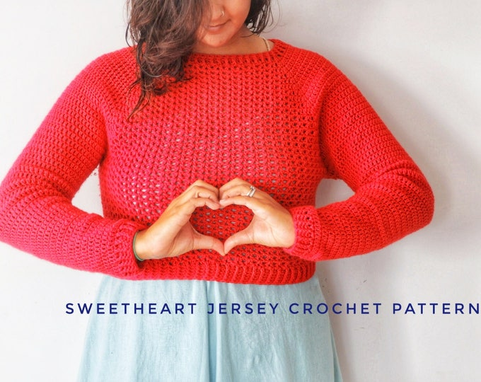 Featured listing image: Sweetheart Jersey Crochet Pattern