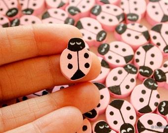 Pink Ladybug Wood Beads x 10