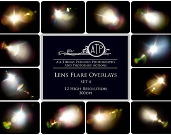 12 Fine Art Digital LENS FLARE Overlays Set 4