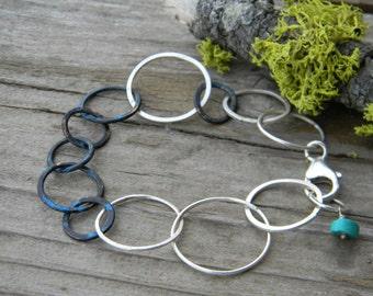 handmade link bracelet - patina copper and sterling silver