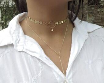 Dainty Gold Silver Coin Choker Necklace, Delicate Circle Choker, Gold Layered Choker, Star O Ring Choker, Gold Bar Choker, Simple Necklace