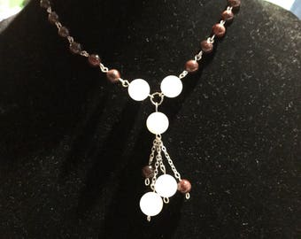 Red garnet and rose quartz stone necklace