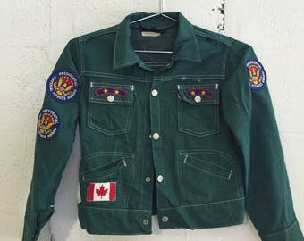 Vintage 1970's Green Sears Kids Presidential Fitness Canvas Patch Letter Sports Jacket Rare Small Brad Birleffi