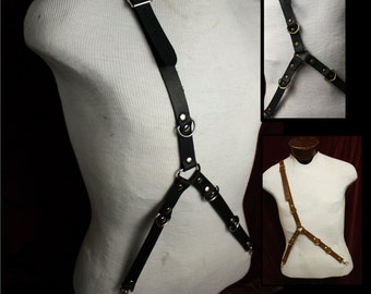 Wasteland Steampunk Leather Suspenders, Single Shoulder/Y design Black, Brown Braces, Fetish, Pirate, Browncoat, punk.  by My Funky Camelot