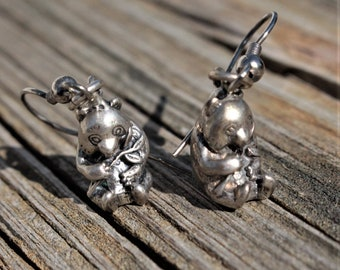 Pewter Panda Bear Earrings