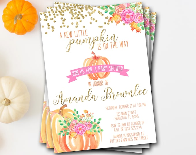 Pumpkin Baby Shower Invitation, Pumpkin Shower Invitation, A New Little Pumpkin, Fall Baby Shower, Pumpkin Invite, Watercolor Pumpkin