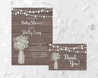 Rustic Baby Shower Invitation Printable Baby's Breath Baby Shower Invite Wood Baby Shower Invite Mason Jar Baby Shower Invitation 357