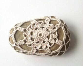 Crocheted River Stone no. 12 / Crochet Covered Stone, Crochet Rock, Mandala Stone, Altar Stone, Lace Stone, Boho Shabby Chic Wedding Gift