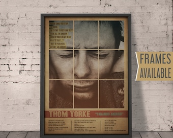THOM YORKE Poster ***Frames Available*** Paranoid Android Lyrics Poster Art Print * Radiohead Poster * Wall Art Gift For Him Gift For Her
